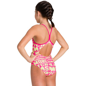 arena Neon Glitch Light Drop Back One Piece Swimsuit Girls freak rose/green multi